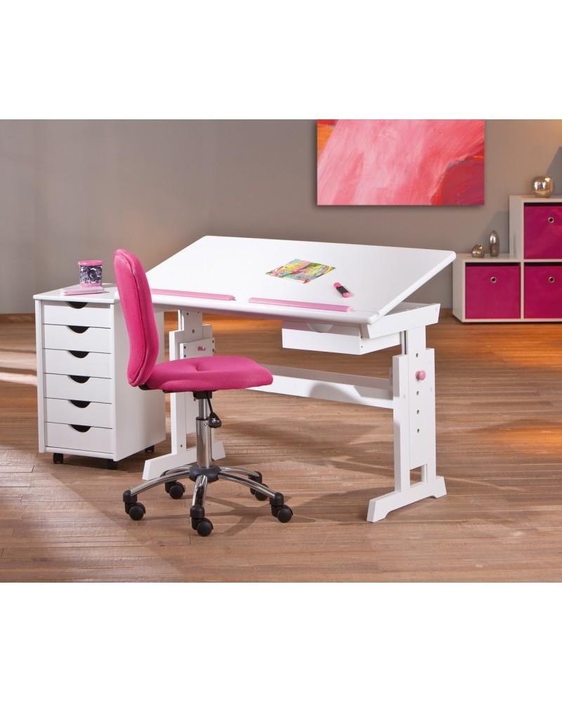Scrivania Tecnigrafo Class bianca con inserti rosa, con piano reclinabile regolabile e tecnigrafo