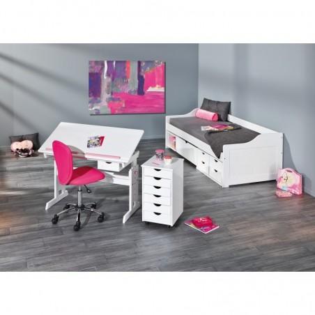 angolo studio con Scrivania Tecnigrafo Class  bianca e rosa