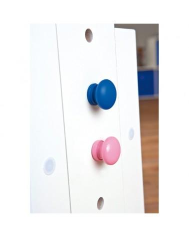 Dettaglio regolazione piano della scrivania con tecnigrafo Class bianca con inserti rosa o blu