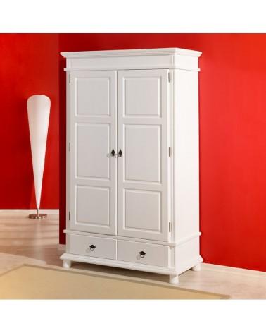 Armadio guardaroba bianco a 2 ante Dana con modanature in legno per cameretta o camera da letto moderna o provenzale