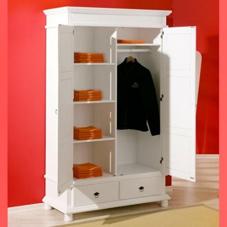 Interno armadio bianco in legno con asta appendiabiti, scomparti e 2 cassetti
