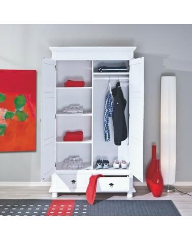 armadio guardaroba bianco in legno con asta appendiabiti, scomparti e 2 cassetti con maniglie stilizzate in metallo