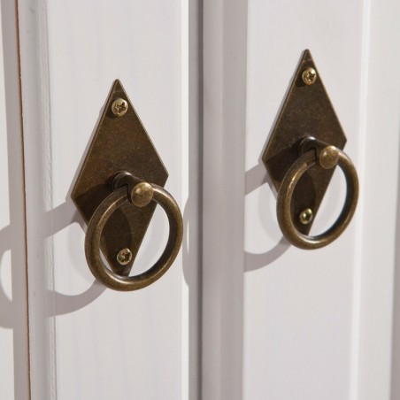 dettaglio maniglie stilizzate in metallo dell'armadio Dana 2 ante bianco in legno