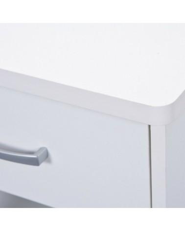 dettaglio Scrivania Angolare Bertolo Bianca cassetto con maniglia in metallo cromato