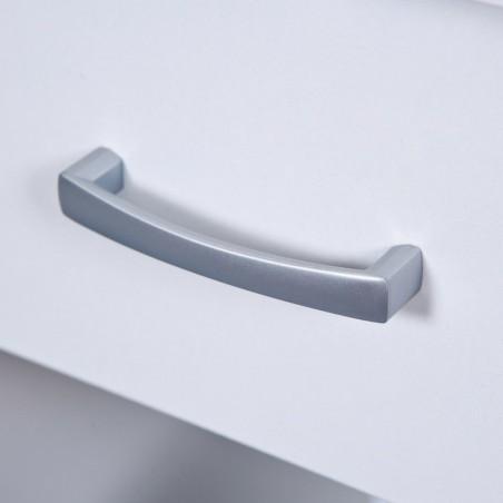 dettaglio maniglia in metallo cromato satinato del cassetto della scrivania angolare bianca Bertolo