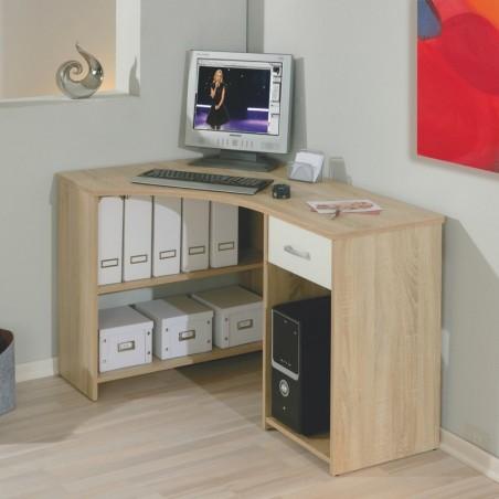 Scrivania Angolare Bertolo finitura rovere porta PC con ripiani e cassetti