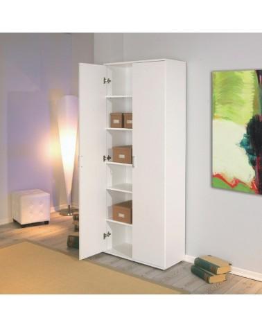 Armadio da ufficio 2 ante battenti Alma in laminato Bianco design semplice e moderno