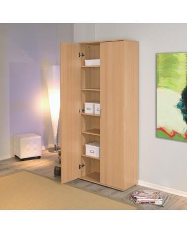 Armadio da ufficio 2 ante battenti Alma in laminato finitura legno chiaro design semplice e moderno