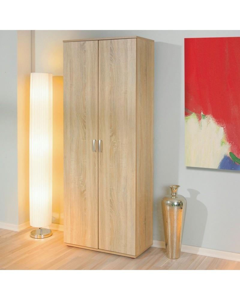 Armadio per ripostiglio e cameretta 2 ante battenti Alma in laminato finitura legno chiaro dal design semplice e moderno