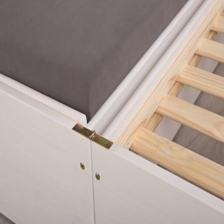 Dettaglio apertura Divano Letto Estraibile Triplo Bianco in legno massello