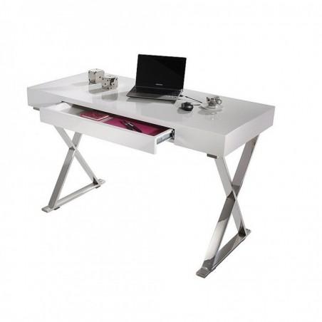 Scrivania Piano Bianco con cassetto sottile e gambe in metallo
