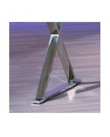 dettaglio gambe cromateScrivania Piano Bianco