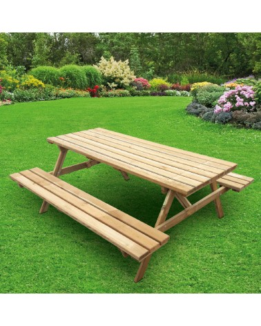 Set tavolo e panche da giardino Cortina in legno di pino