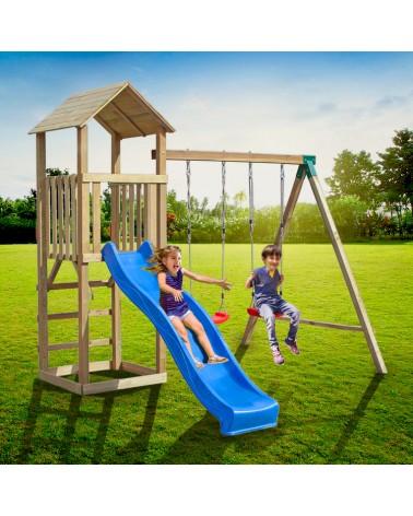 torre in legno massello da giardino gioco bambini con altalena 1