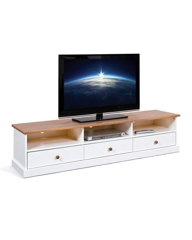 Porta TV Land in legno massello bianco e noce 1