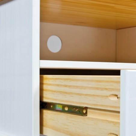 Porta TV Land in legno massello bianco e noce 5