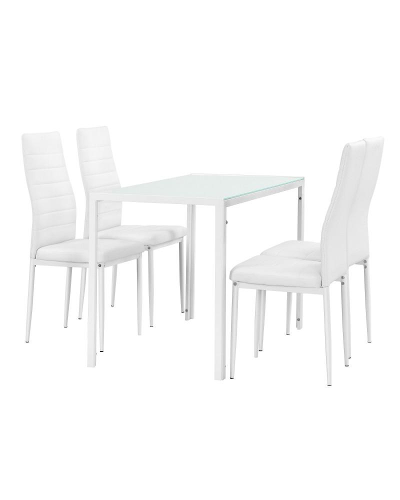 Set Tavolo Da Pranzo In Vetro E 4x Sedie In Similpelle Bianco Nero O Grigio