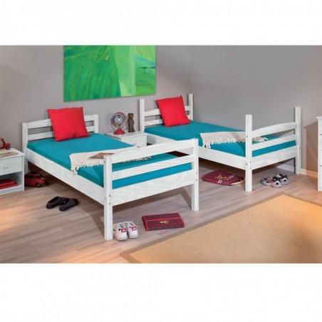 Letti singoli bianchi semplici in legno massello bianco trasformabili in letto a castello