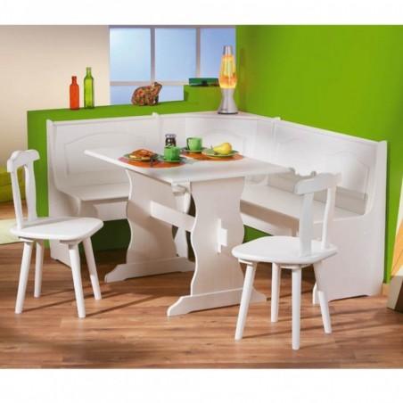 Set stile provenzale Holiday in legno bianco: una panca, un tavolo, 2 sedie