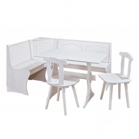 Set shabby chic Holiday in legno bianco: una panca, un tavolo, 2 sedie