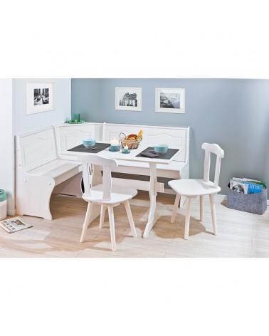 set rustico elegante bianco in legno per la cucina: una panca, un tavolo, 2 sedie