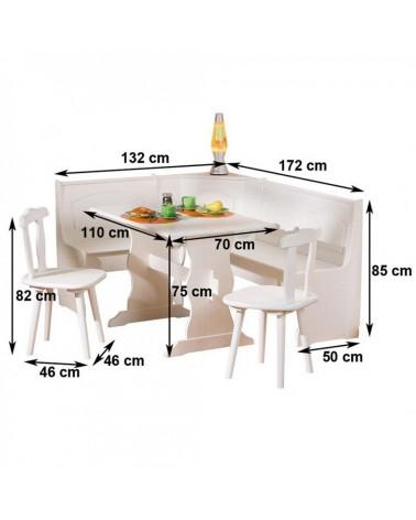 misure set holiday: tavolo, cassapanca e sedie in legno bianco