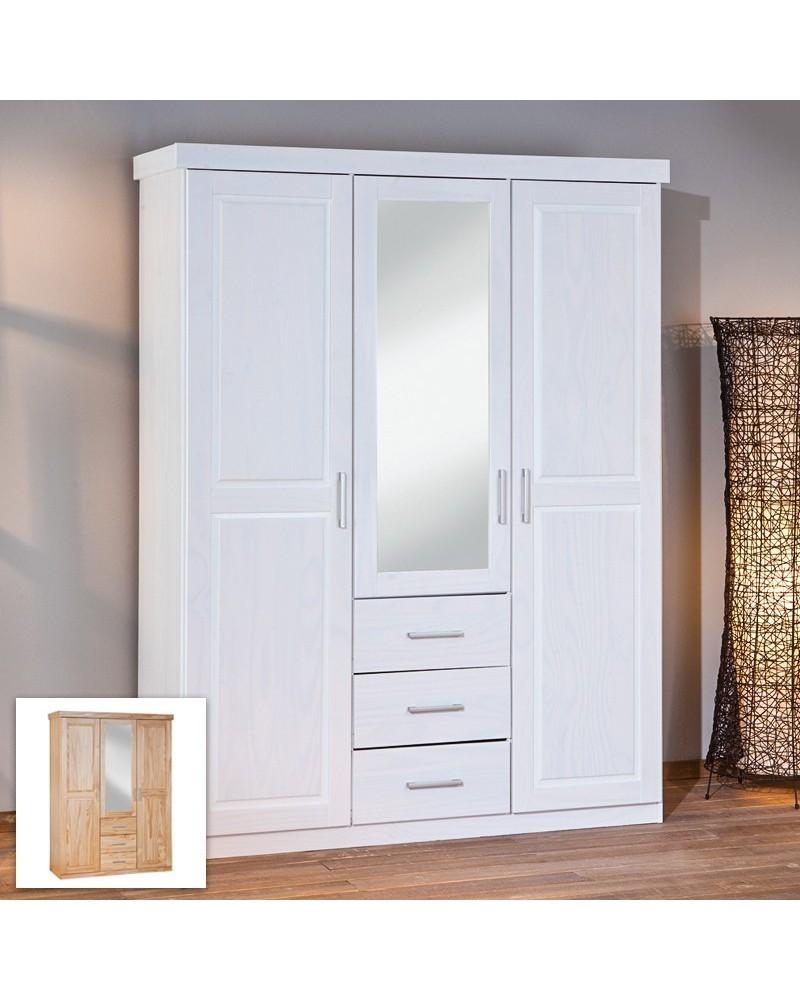 Armadio A Tre Ante Bianco.Armadio Con Specchio 3 Ante Leon Bianco Pino Naturale 140 X 190 Cm