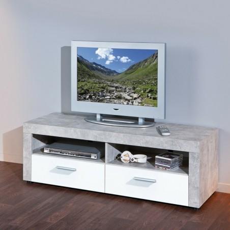 Porta tv Argo in MDF Bianco e grigio effetto cemento con 2 cassetti 1