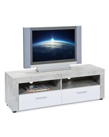 Porta tv Argo in MDF Bianco e grigio effetto cemento con 2 cassetti 2