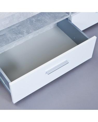 Porta tv Argo in MDF Bianco e grigio effetto cemento con 2 cassetti 4